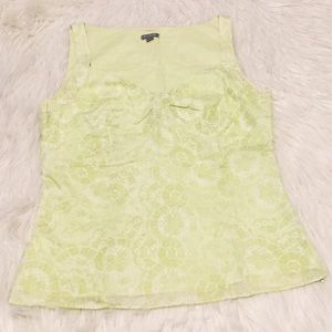 Ann Taylor Green and White Sleeveless Top